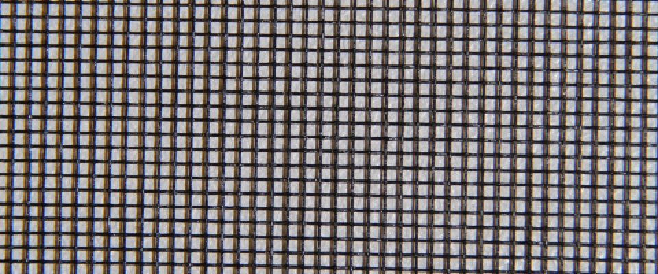 Fibreglass mesh, the mesh most commonly used in fly screens and doors.
